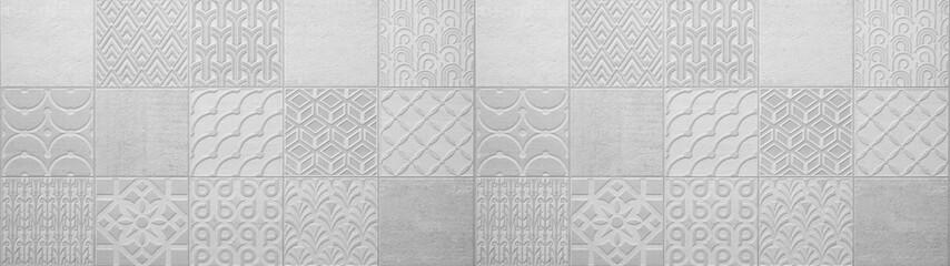 Gray bright vintage retro geometric square mosaic motif  cement concrete tiles texture background banner panorama