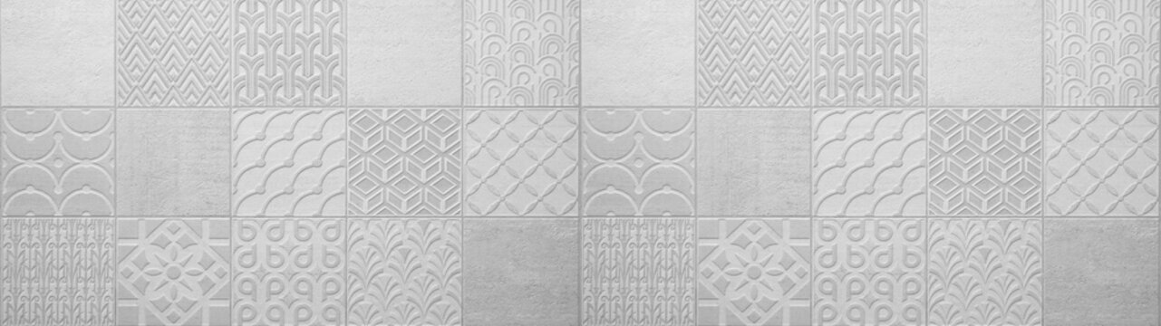 Gray bright vintage retro geometric square mosaic motif  cement concrete tiles texture background banner panorama