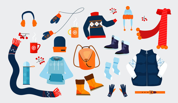 Winter clothes icons. Simple icons collection on grey background. Winter concept. Sweater, coat, hat. Illustrations can be used for topics like winter, holiday, clothes