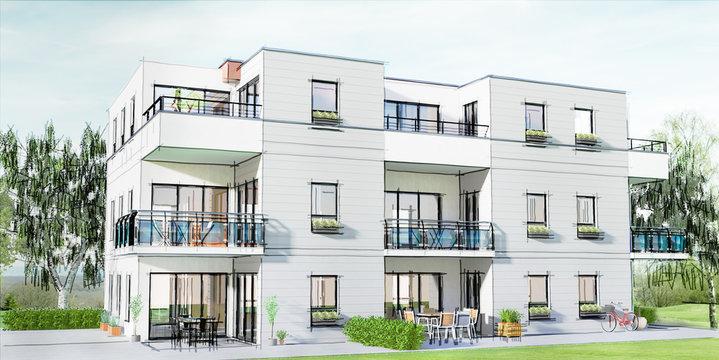 Concept et esquisse 3D d'un petit immeuble résidentiel moderne avec balcon et jardin