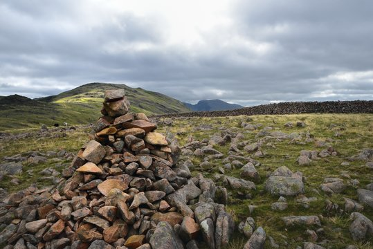 Large stone cairn on Caw Fell