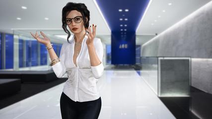 Eine junge Angestellte in menschenleeren Firmenräumen