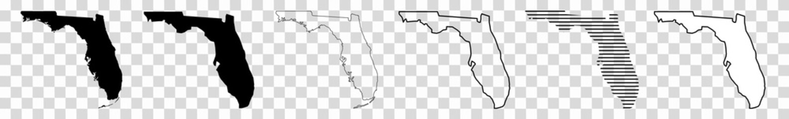 Florida Map Black | State Border | United States | US America | Transparent Isolated | Variations