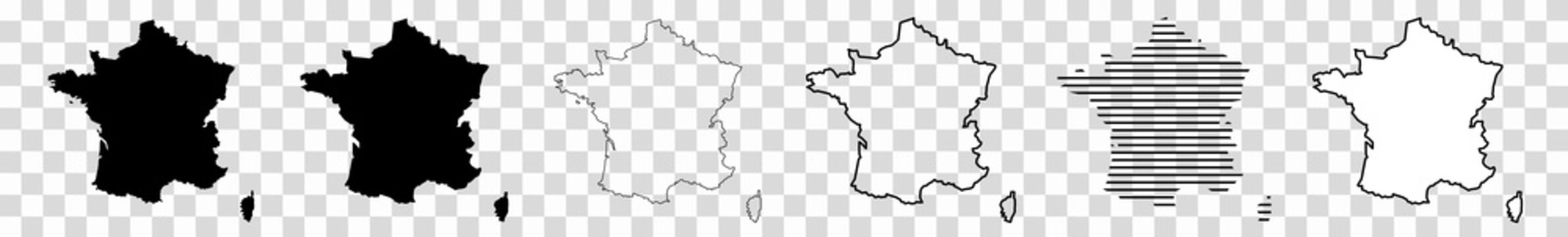 France Map Black | French Border | State Country | Transparent Isolated | Variations