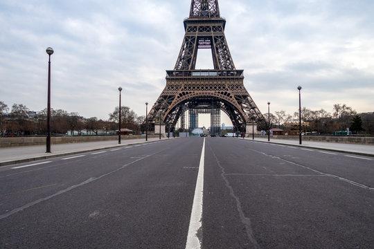 Empty Iena bridge in front of Eiffel Tower during Coronavirus Lockdown in Paris.