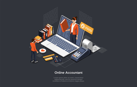 Isometric Online Accountant Concept. Woman Accountant Is Preparing A Tax Report And Calculating Payment Check Basing On Data. Legal Service Online Invoice Accountant Declaration. Vector Illustration