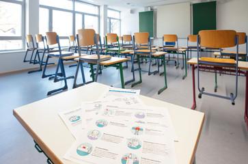 Leeres Klassenzimmer in Zeiten von Corona