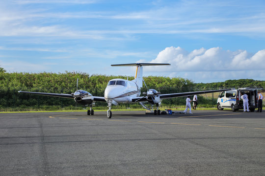 OUVEA, NEW CALEDONIA-JANUARY 6: Air Loyaute airplane at the airport on January 6, 2018 on Ouvea Island, Loyalty Islands, New Caledonia. Air Loyaute is the main airline service for the Loyalty Islands.