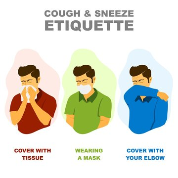 Cough and sneeze etiquette, medical advice to coughing and sneezing without spreading disease illustration.