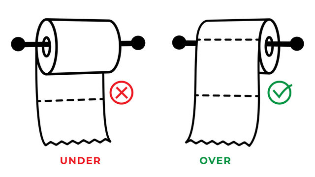 Toilet paper roll in the under and over position into the holder. Rule for the correct placement of toiletries. Vector and illustration.