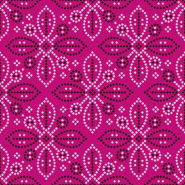 seamless indian bandana pattern design pink background