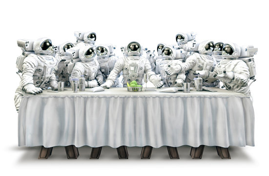 Last supper in space / 3D illustration of funny surreal science fiction scene with astronauts gathered around dining table