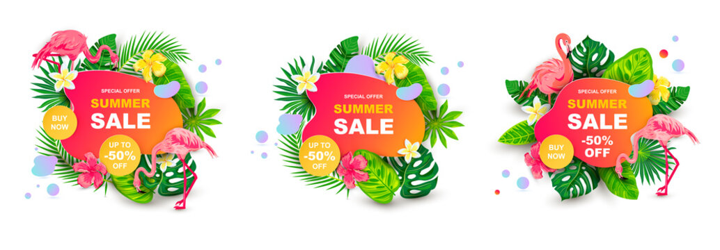 Summer sale banner with tropical leaves, flower plumeria, flamingo, liquid geometric shape. Place for text. Template for poster, web, invitation, flyer. Vector illustration set.