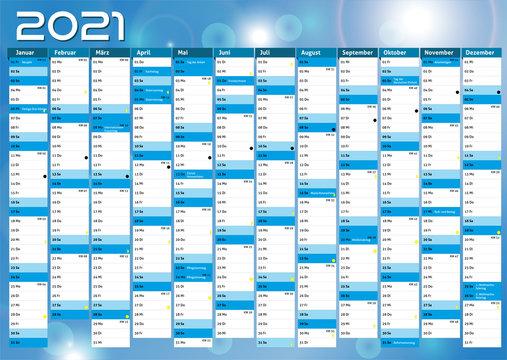 2021 calendar Germany planner pocket business year vector