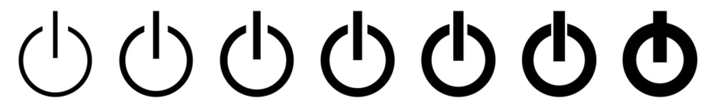 Power Button Icon Black Line | On Off Buttons Illustration | Start Symbol | Shutdown Logo | Logout Sign | Isolated | Variations