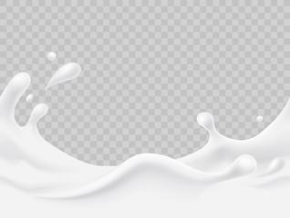 Milk splash seamless pattern. 3d realistic yogurt wave border on transparent background. Vector milky package design.