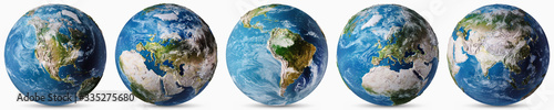 Wall mural Planet Earth countries map set