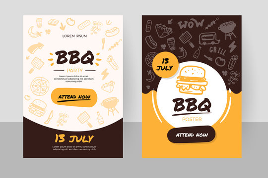 BBQ online order doodle banner with grill icons, burger, promotion design, restaurant template
