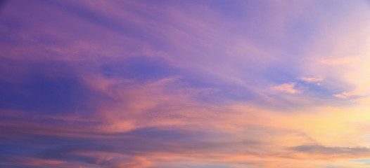 beautiful vivid color fluffy clouds in twilight sky at evening in summer. Fototapete