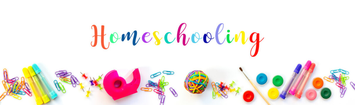 Homeschooling web banner. Panorama of colorful school supplies isolated on white background.
