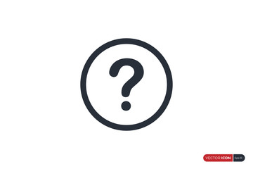 Question Icon with Circle Line isolated on White Background. Flat Vector Icon Design Template Element.