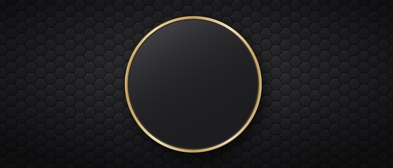 Black background with hexagonal tiles and round golden frame Fotomurales