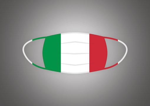 Mascherina chirurgica con bandiera dell'Italia