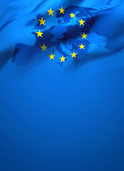 Waving flag of Europe European Union - Full page cover design