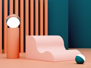 Pink coral shapes on a green abstract background. Minimal box and geometric curved podium. Scene with geometrical forms. Empty showcase for cosmetic product presentation. Fashion magazine. 3d render.