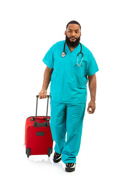 Doctor Ready To Travel With Red Suitcase