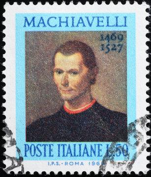 Niccolò Machiavelli on old italian postage stamp