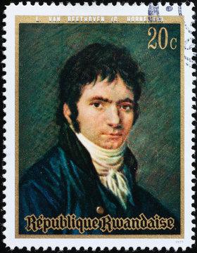 Young Ludwig van Beethoven on postage stamp