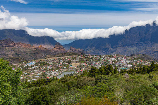 village of Cilaos in the middle of Reunion Island, French departement in the Indian Ocean
