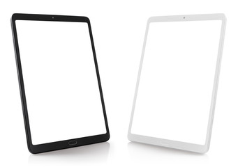 Set of black and white tablet computers, isolated on white background Fotomurales