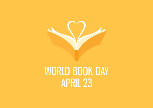 World Book Day with book and heart shaped vector. Open book with heart vector. Yellow book icon. Book Day Poster, April 23. Important day