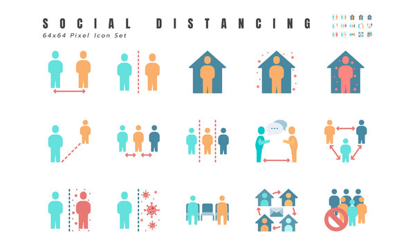 Simple Set of Social Distancing, Coronavirus Disease 2019 Covid-19 Flat Icons such Icons as Stay Home, Quarantine, Work from Home, Avoid Crowded Place. 64x64 Pixel Vector.