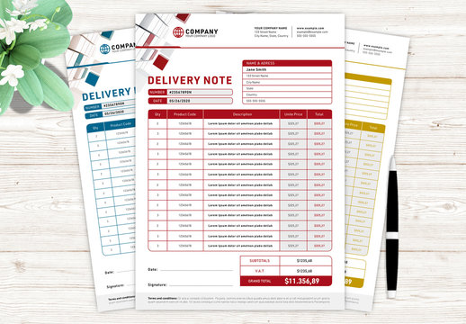 Delivery Note Invoice Layout with Various Color Options