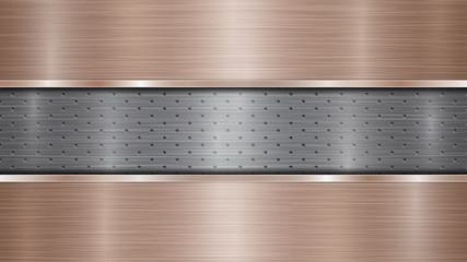 Background of silver perforated metallic surface with holes and two horizontal bronze polished plates with a metal texture, glares and shiny edges Wall mural