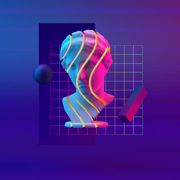 3d-illustration abstract composition of bust and primitive objects on violet background