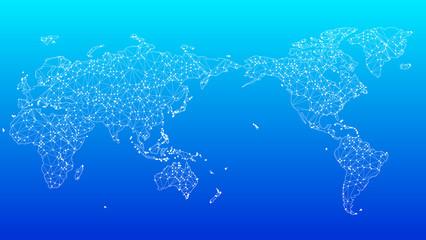 Foto auf AluDibond Turkis デジタルネットワークテクノロジー青色背景世界地図素材