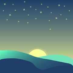 Spoed Fotobehang Olijf Blue nature landscape with silhouettes hill, moonshine, star, sky, moonlight, background, vector, illustration,
