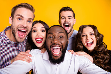 Closeup photo of gorgeous ladies guys five members company students graduation party best friends buddies make take selfies positive emotions expression isolated yellow color background