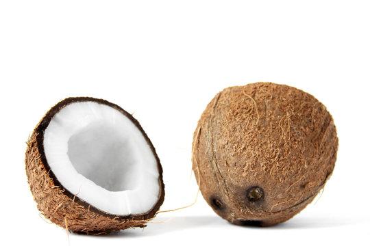 Coconut on a white background. Cocos nucifera