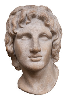 Ancient greek marble head of Alexander the Great - Isolated on white with clipping path