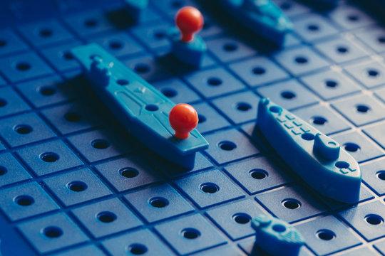 Board game sea battle. Quarantine games and hobbies