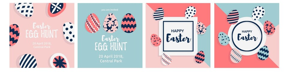 Happy Easter card with cute Easter eggs decorated and greeting text. Vector illustration in trendy flat cartoon