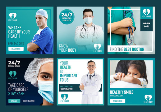 Healthcare Social Media Post Layout Set