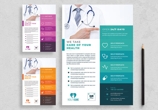 Healthcare Flyer Layout with Colorful Accents