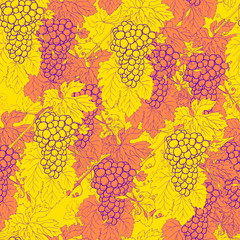 Grapes bunch leaves branch graphic pattern seamless
