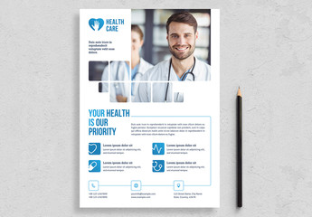 Healthcare Flyer Layout with Blue Accents